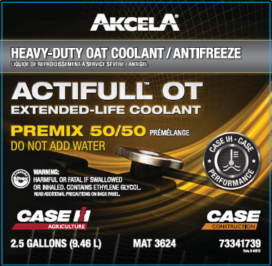 Akcela Actifull OT Heavy-duty oat coolant antifreeze premix 50/50 for Case IH and New Holland